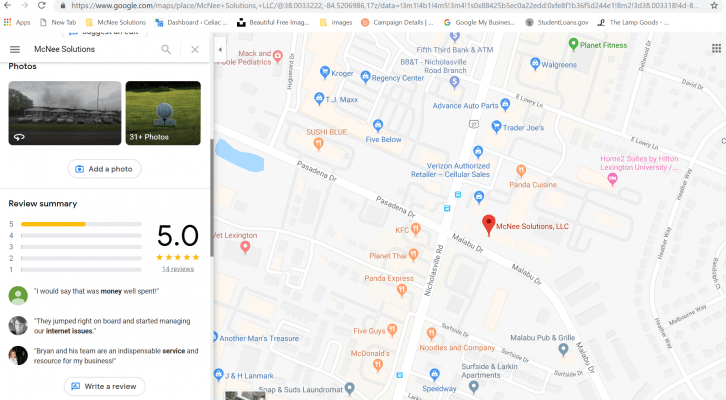 Google reviews maps